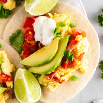mexican breakfast taco with toppings