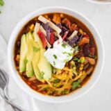 chicken taco soup in bowl