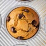 chocolate chip pumpkin muffin in pan