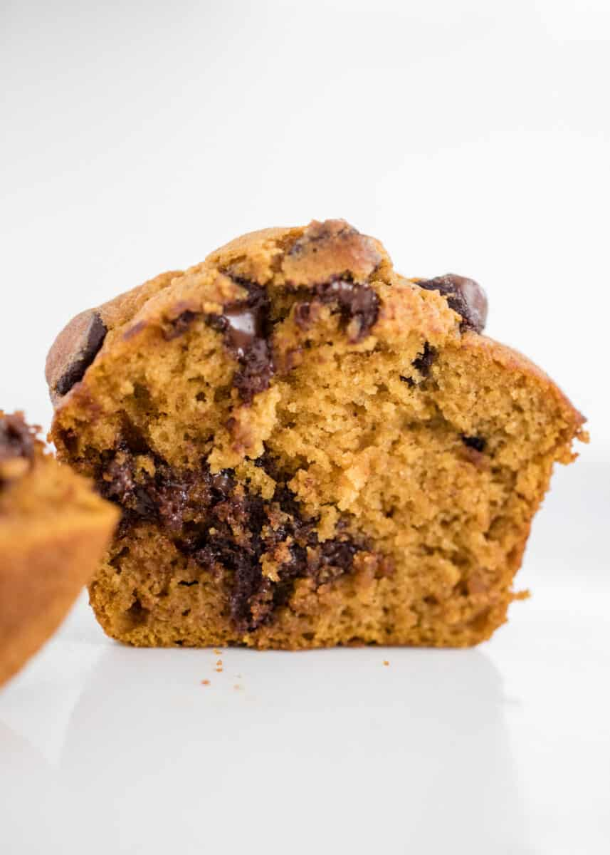chocolate chip pumpkin muffin sliced in half