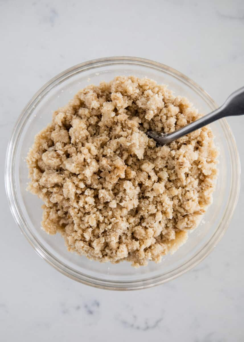 crumble topping in glass bowl