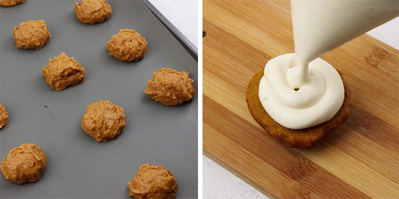 piping frosting onto pumpkin cookies
