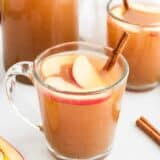 homemade apple cider in glass cup