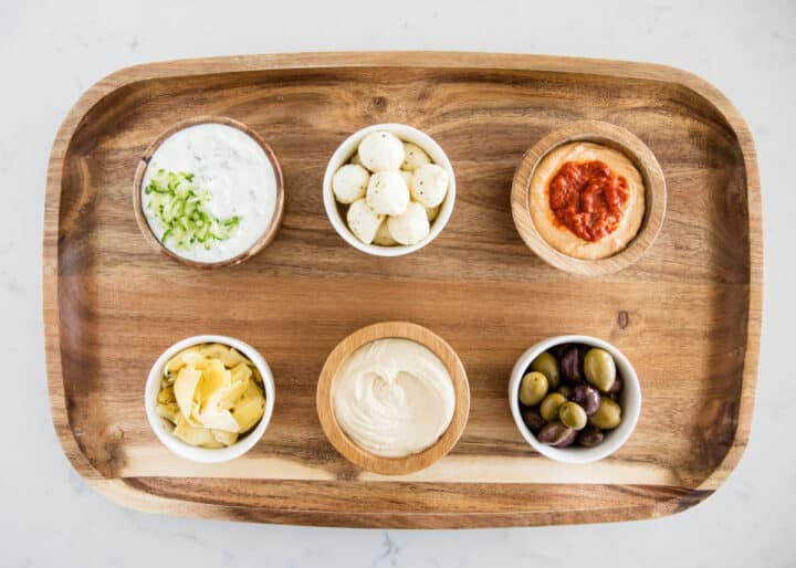 bowls on wooden board