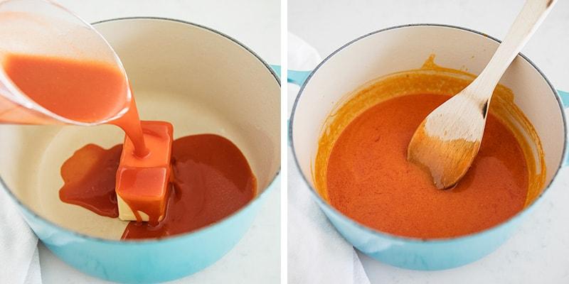 stirring buffalo sauce