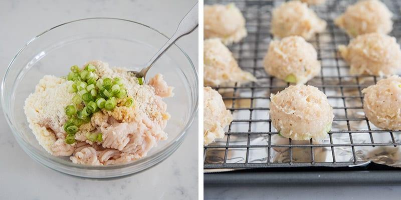 preparing meatballs on pan