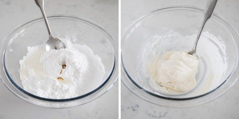 mixing powdered sugar glaze in bowl