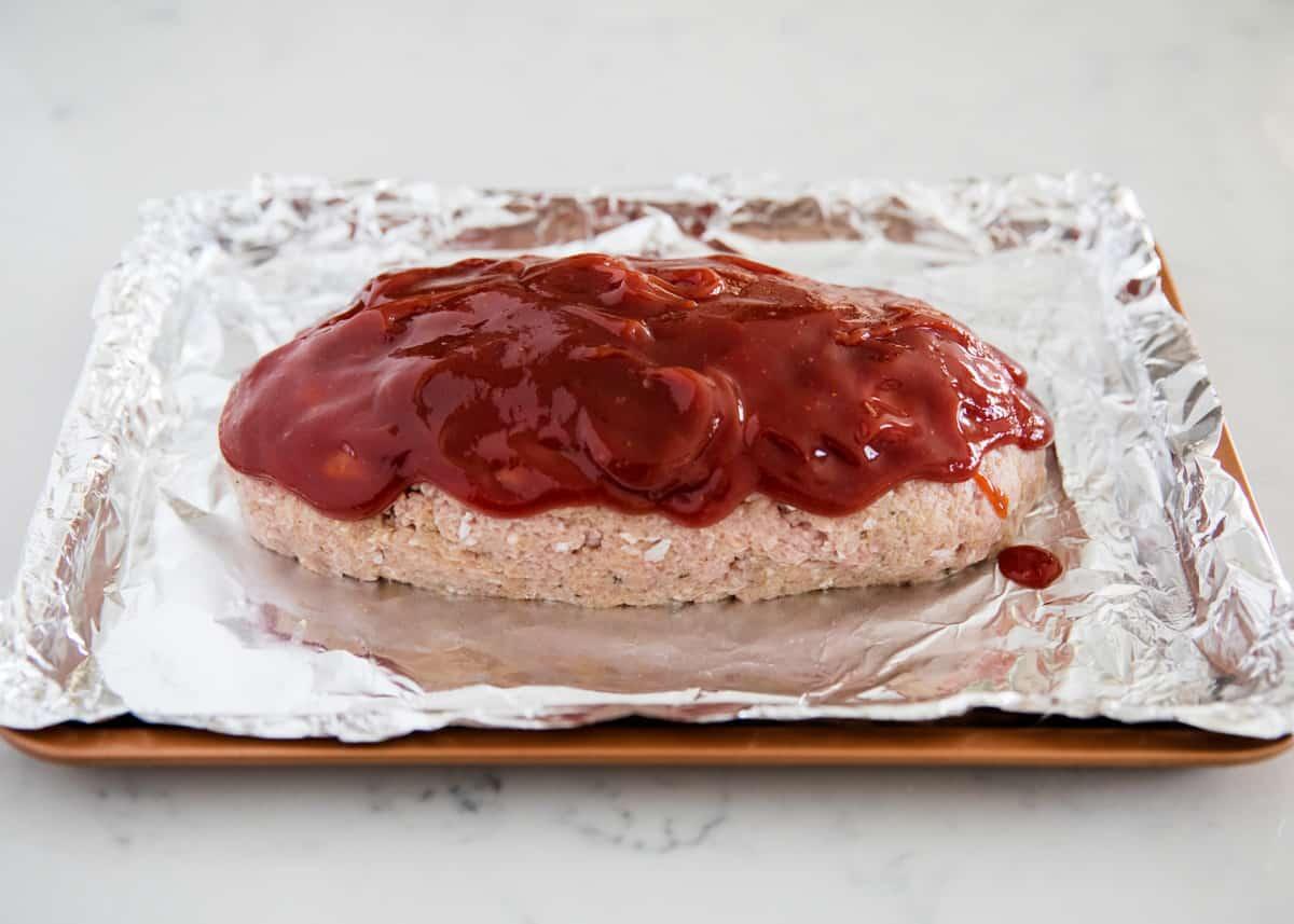 turkey meatloaf on pan