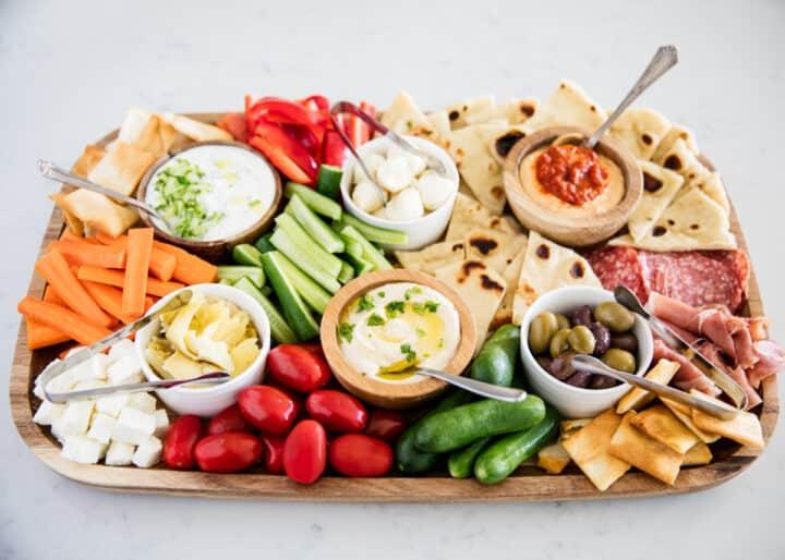 mediterranean platter on counter