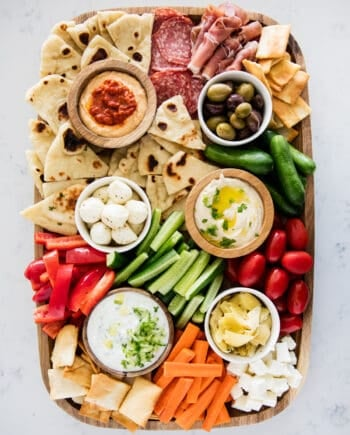 mezze platter on marble counter