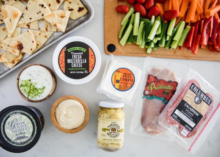mezze platter ingredients on counter