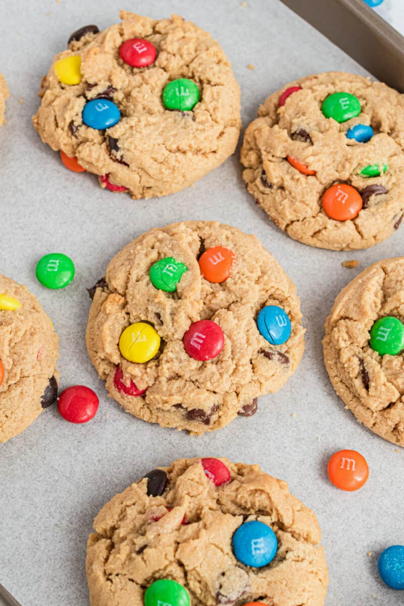 peanut butter m&m cookies on baking sheet