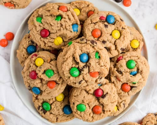 peanut butter m&m cookies on plate