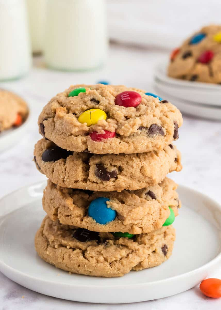 stacked peanut butter m&m cookies
