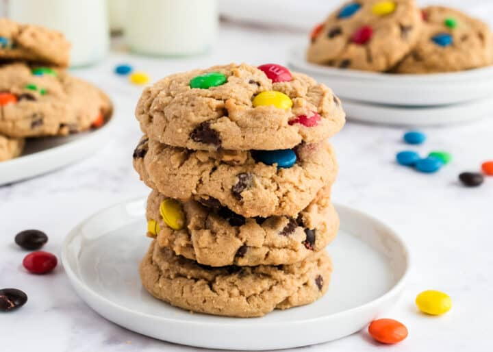 peanut butter m&m cookies on white plate