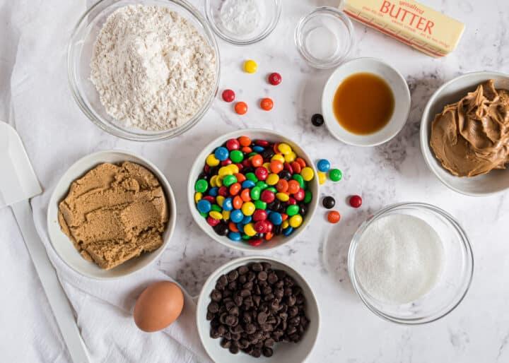 peanut butter m&m cookie ingredients