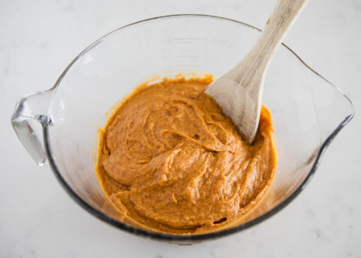 pumpkin batter in bowl