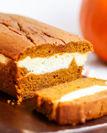 sliced pumpkin cream cheese bread