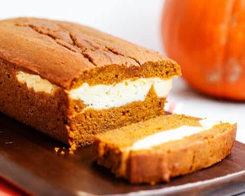 sliced pumpkin cream cheese bread