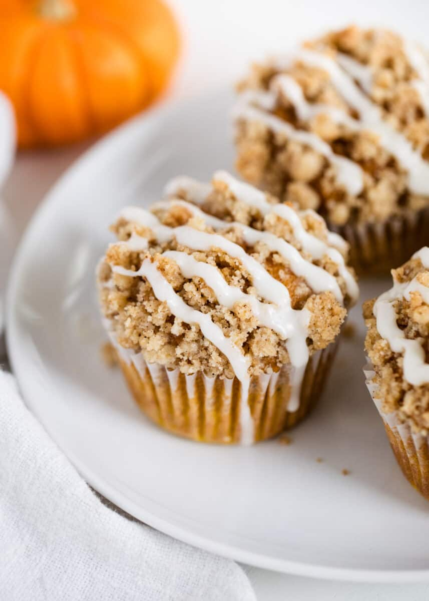 crumb muffins on white plate