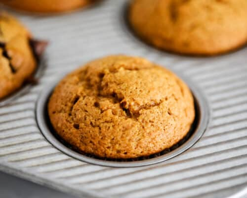pumpkin muffins in pan