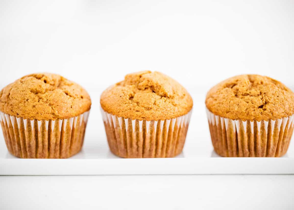 pumpkin muffins on white plate