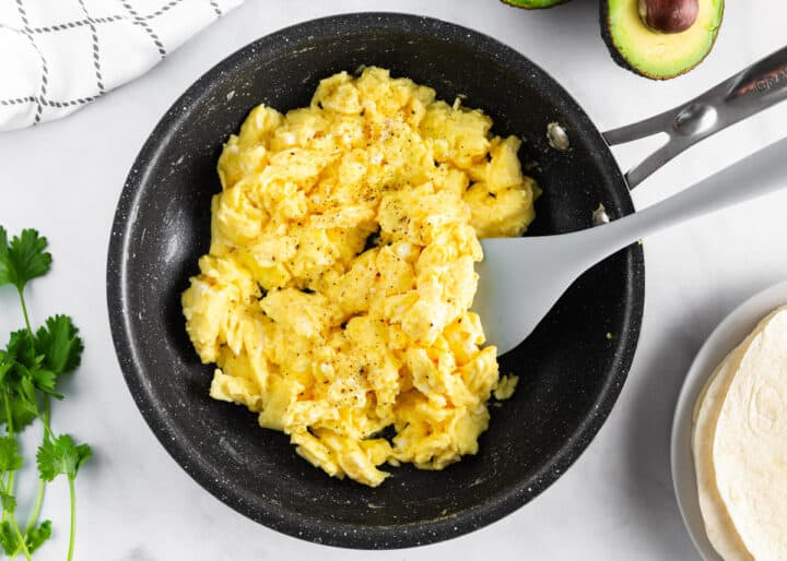 scrambled eggs in pan