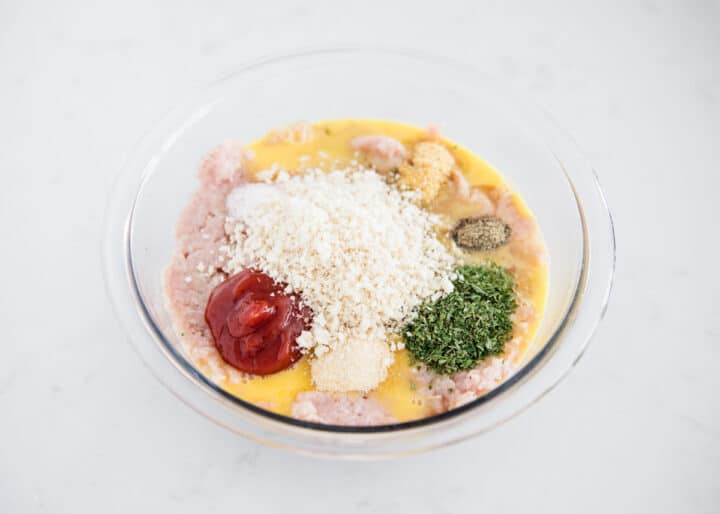 turkey meatloaf ingredients in bowl