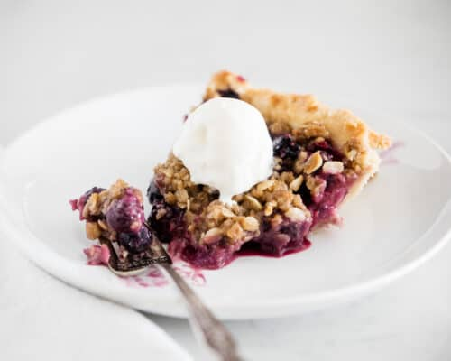 berry crumble pie on plate