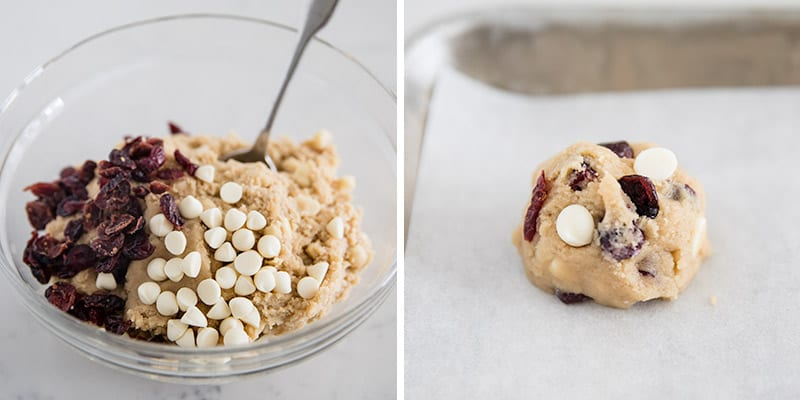 white chocolate cranberry cookie dough