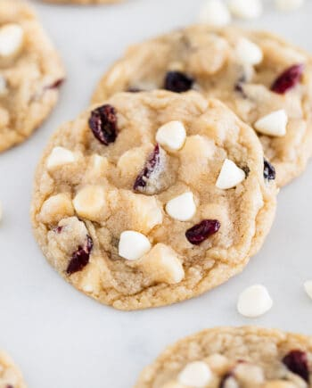 white chocolate cranberry cookies on counter