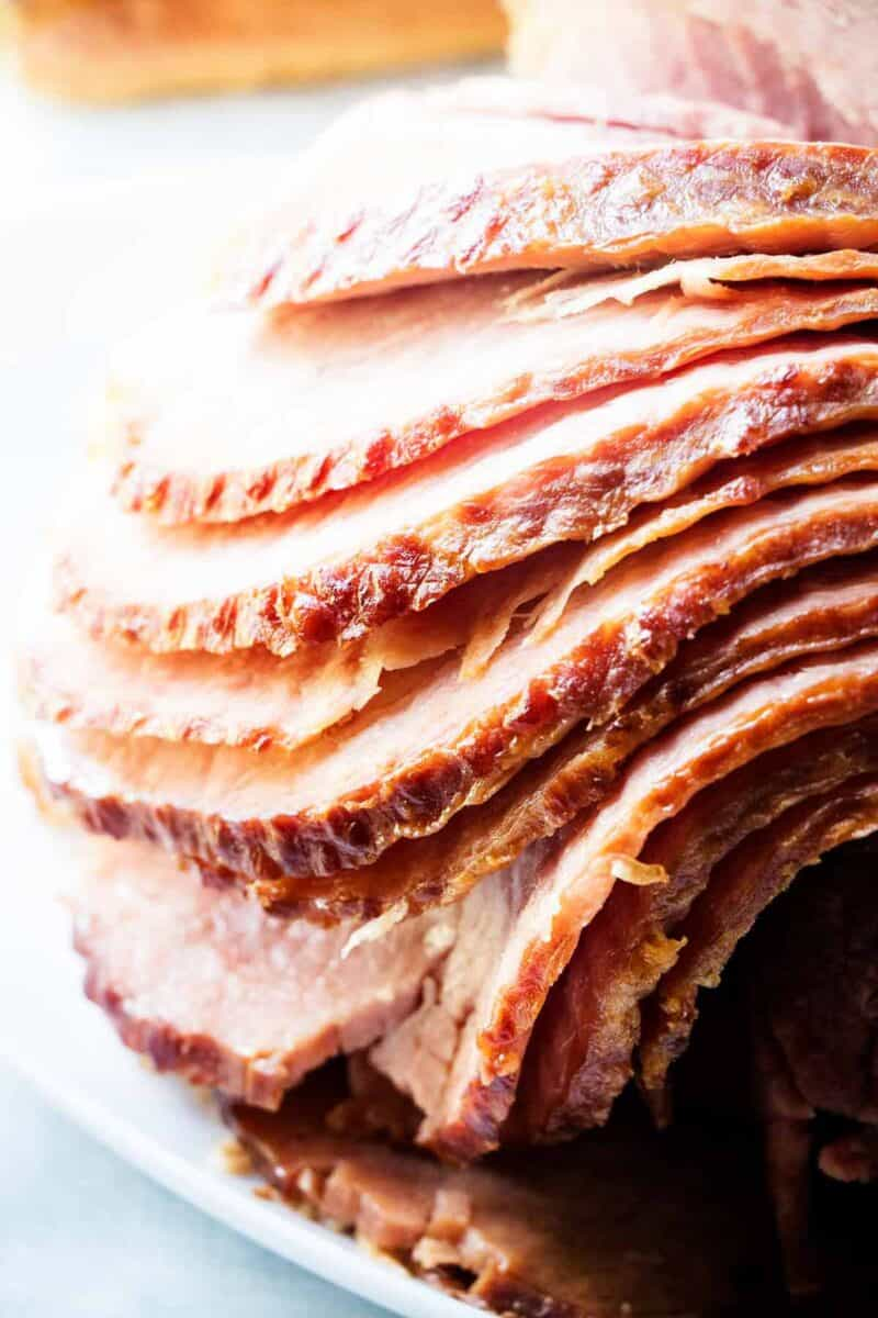 sliced baked ham on plate