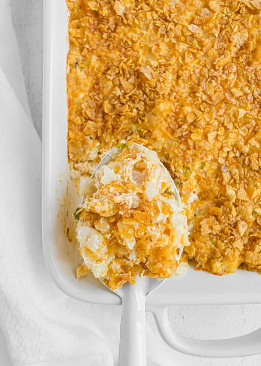 spoonful of cheesy potatoes