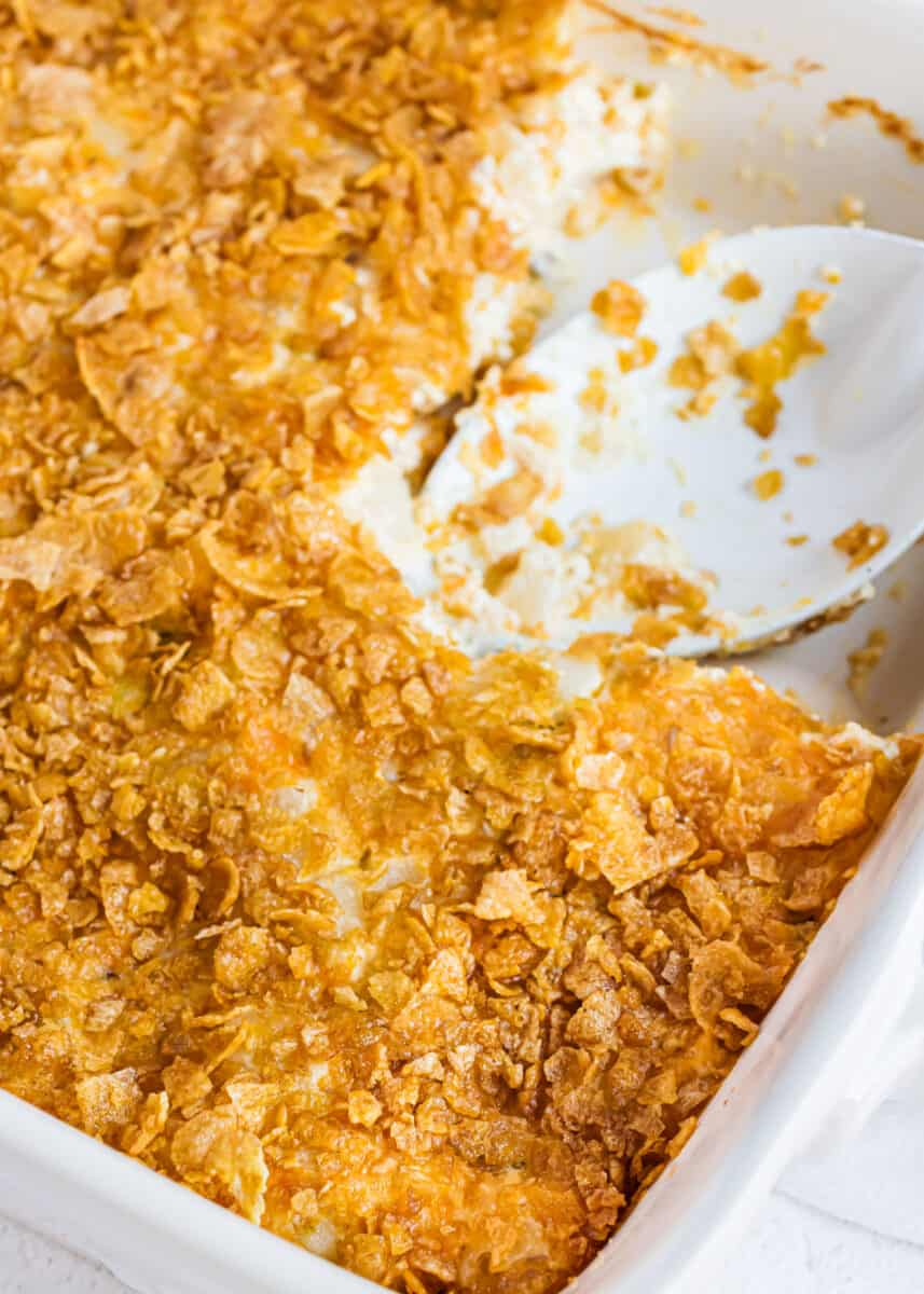pan of cheesy potatoes