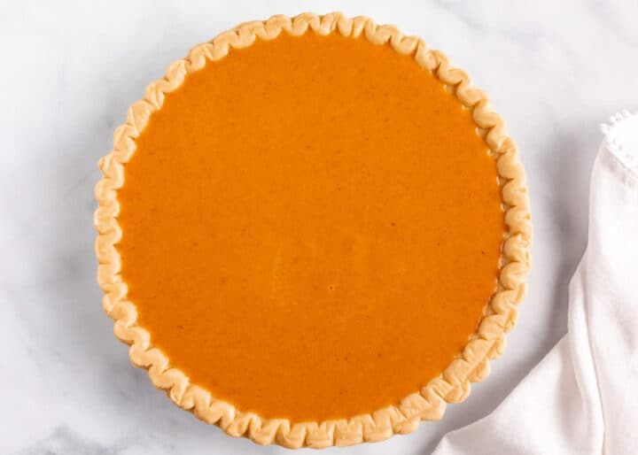 pumpkin pie filling in crust
