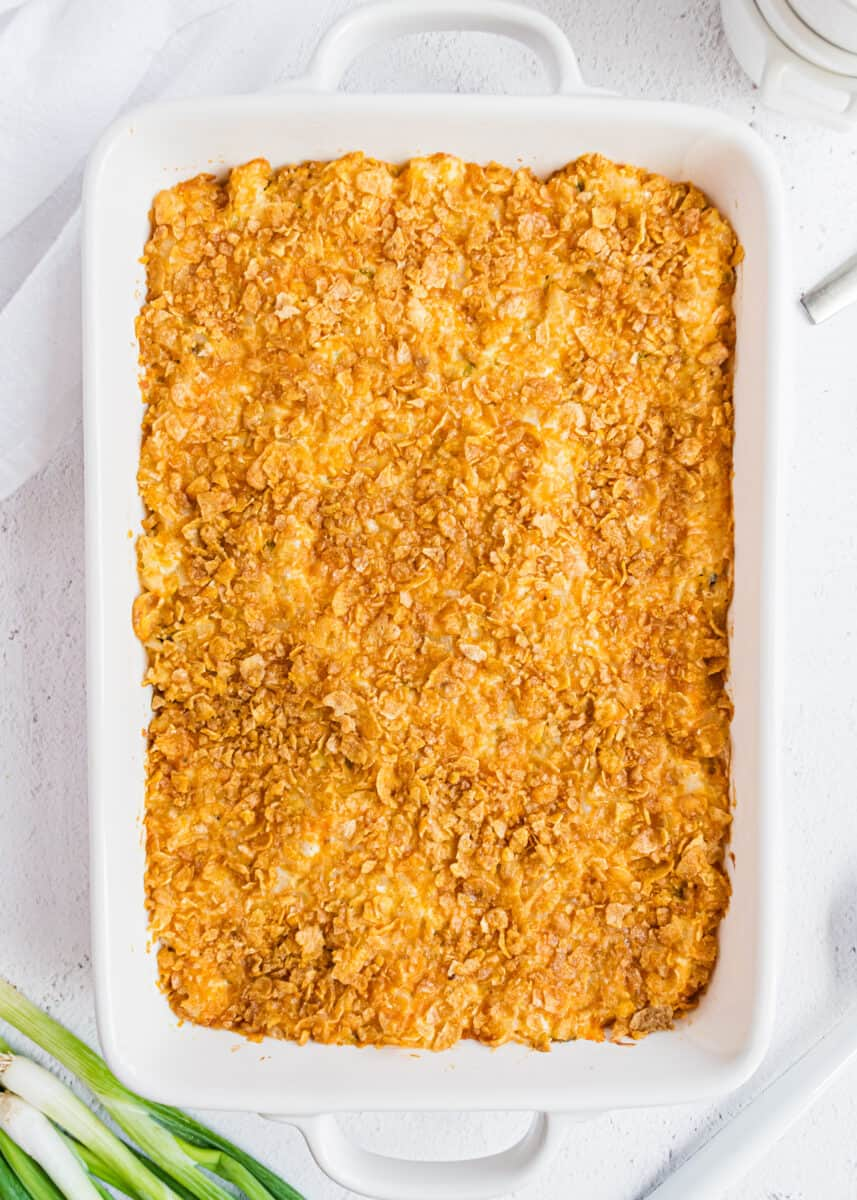 funeral potatoes in white pan