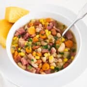 ham and bean soup in bowl