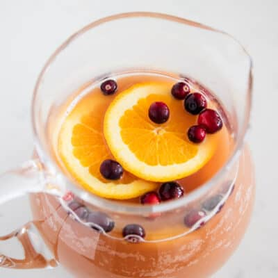 holiday punch in glass pitcher