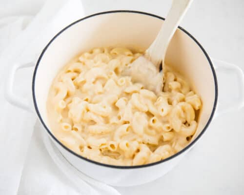 pot full of mac and cheese