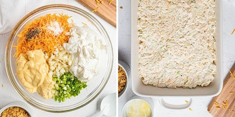 mixing cheesy potatoes