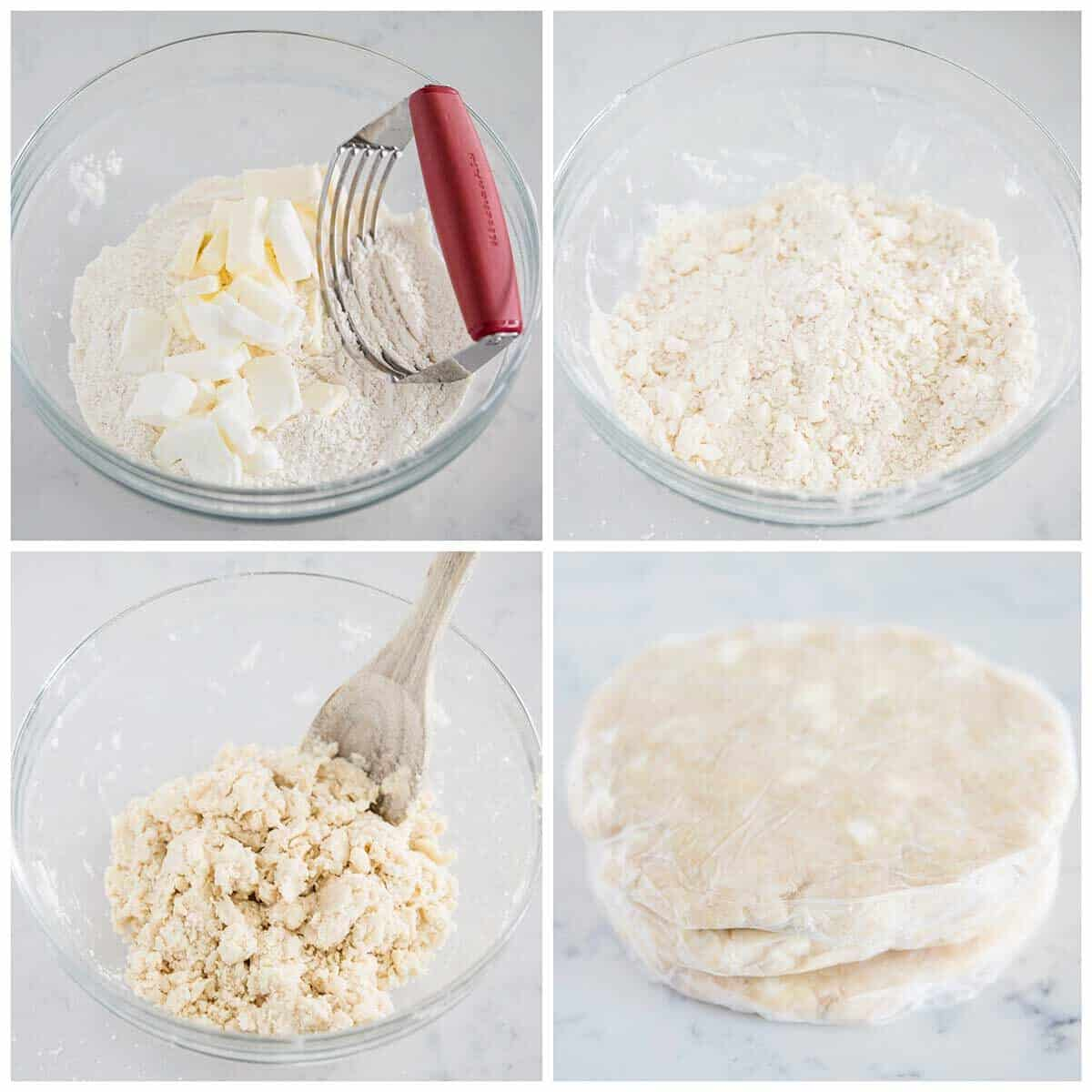 mixing pie crust in bowl