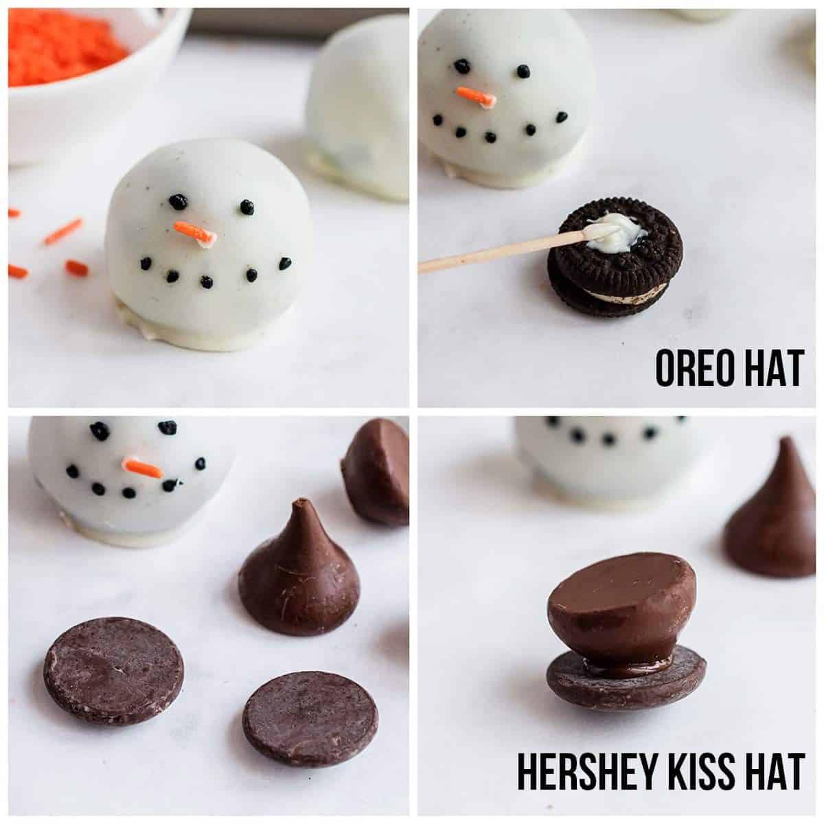 decorating snowman oreo balls
