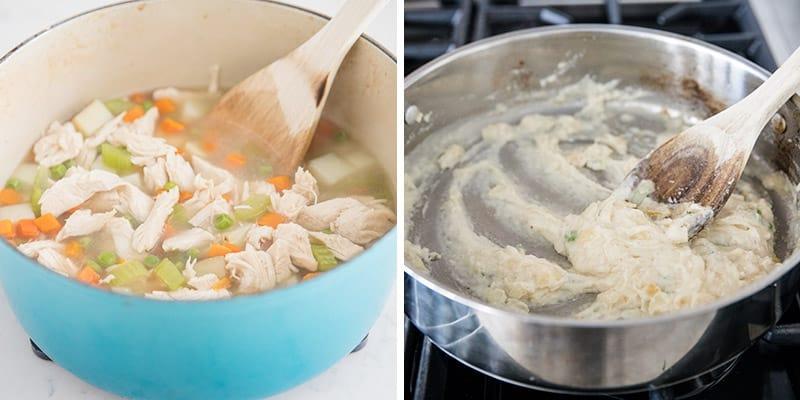 mixing turkey pot pie filling