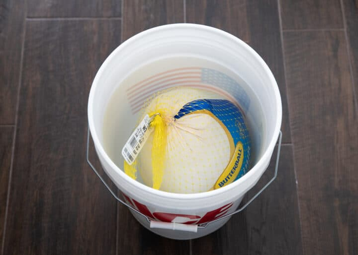 thawing frozen turkey in bucket of water