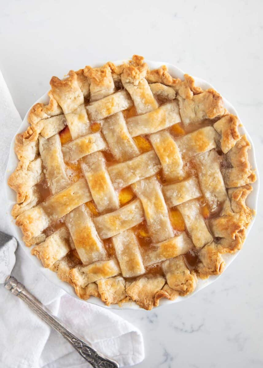 peach pie on marble counter