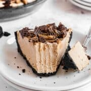 peanut butter pie on white plate