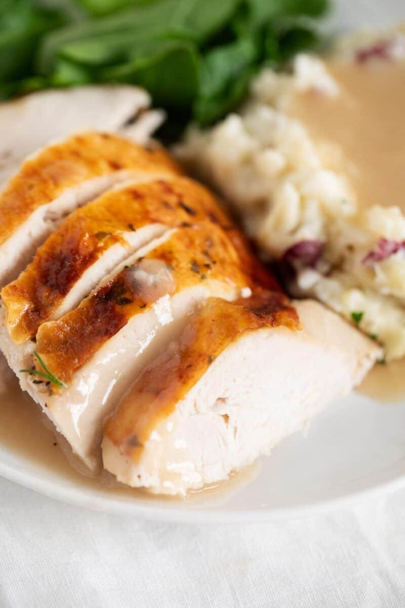 turkey with gravy on plate