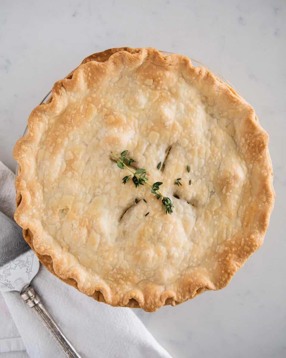 turkey pot pie on counter