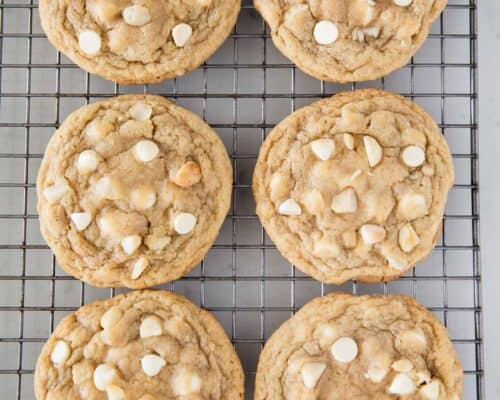 white chocolate macadamia nut cookies on cooling rack
