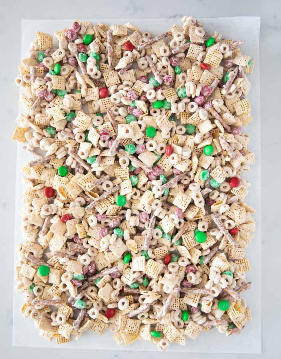 christmas chex mix on table